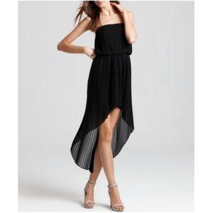 BCBG Strapless pleated hi low dress size small LBD